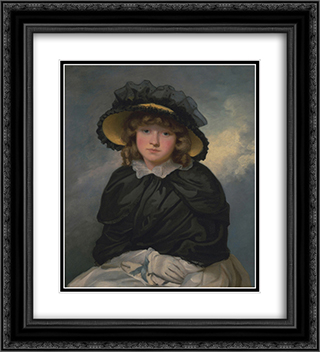 Portrait of Louisa Lane, Called 'Cecilia' 20x22 Black or Gold Ornate Framed and Double Matted Art Print by John Hoppner