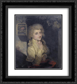 Portrait of Mrs Young 20x22 Black or Gold Ornate Framed and Double Matted Art Print by John Hoppner