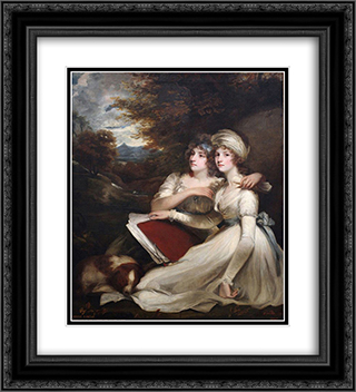 The Frankland Sisters 20x22 Black or Gold Ornate Framed and Double Matted Art Print by John Hoppner