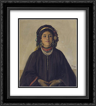 Aida, a Moorish Maid 20x22 Black or Gold Ornate Framed and Double Matted Art Print by John Lavery