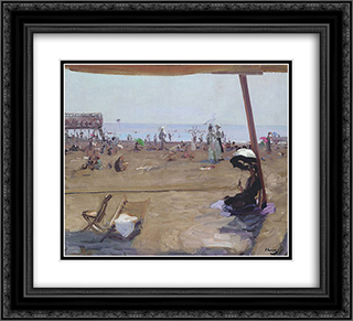 Bathing in the Lido, Venice 22x20 Black or Gold Ornate Framed and Double Matted Art Print by John Lavery