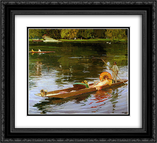 Boating on the Thames 22x20 Black or Gold Ornate Framed and Double Matted Art Print by John Lavery