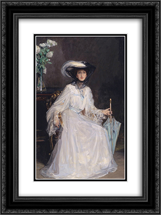 Evelyn Farquhar 18x24 Black or Gold Ornate Framed and Double Matted Art Print by John Lavery