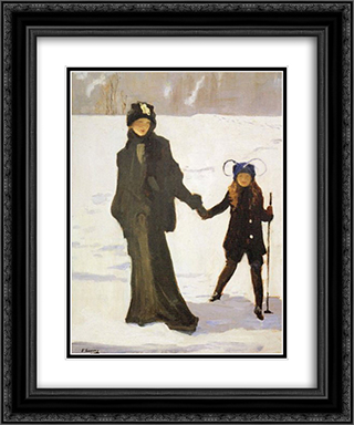 Japanese Switzerland 20x24 Black or Gold Ornate Framed and Double Matted Art Print by John Lavery