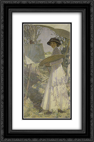 Mrs Lavery sketching 16x24 Black or Gold Ornate Framed and Double Matted Art Print by John Lavery