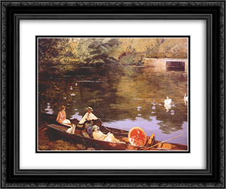 Sutton Courtenay, (Summer on the River or The Wharf) 24x20 Black or Gold Ornate Framed and Double Matted Art Print by John Lavery