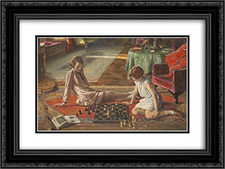 The Chess Players 24x18 Black or Gold Ornate Framed and Double Matted Art Print by John Lavery