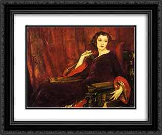 The Red Rose 24x20 Black or Gold Ornate Framed and Double Matted Art Print by John Lavery