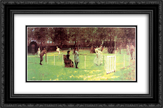 The Tennis Party 24x16 Black or Gold Ornate Framed and Double Matted Art Print by John Lavery