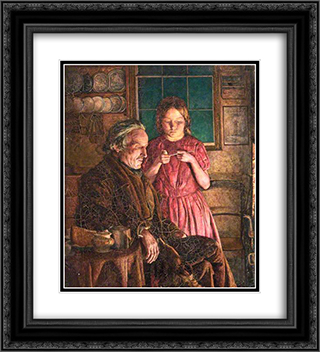 John Lee-Grandfather's Comfort 20x22 Black or Gold Ornate Framed and Double Matted Art Print by John Lee