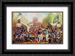 4th of July 1819 in Philadelphia 24x18 Black or Gold Ornate Framed and Double Matted Art Print by John Lewis Krimmel