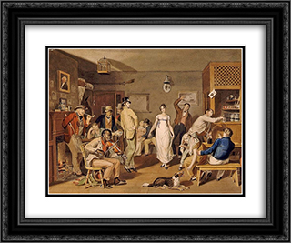 Barroom Dancing 24x20 Black or Gold Ornate Framed and Double Matted Art Print by John Lewis Krimmel