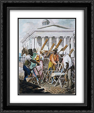 Black Sawyers Working in Front ot the Bank of Pennsylvania, Philadelphia 20x24 Black or Gold Ornate Framed and Double Matted Art Print by John Lewis Krimmel