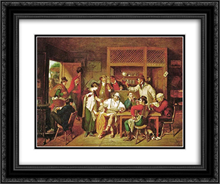 In an American Inn 24x20 Black or Gold Ornate Framed and Double Matted Art Print by John Lewis Krimmel