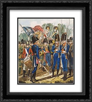Members of the City Troup and other Philadelphia Soldiery 20x22 Black or Gold Ornate Framed and Double Matted Art Print by John Lewis Krimmel