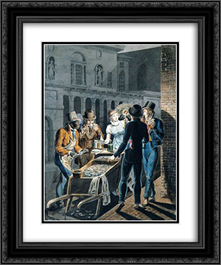 Nightlife in Philadelphia - An Oyster Barrow in front of the Chestnut Street Theater 20x24 Black or Gold Ornate Framed and Double Matted Art Print by John Lewis Krimmel