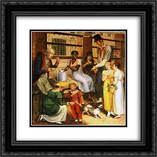 Pepper-Pot Woman at the Philadelphia Market 20x20 Black or Gold Ornate Framed and Double Matted Art Print by John Lewis Krimmel