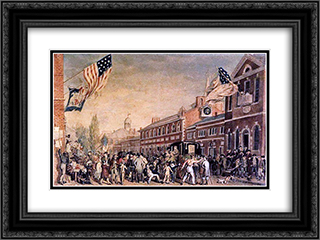 Philadelphia Election Day 24x18 Black or Gold Ornate Framed and Double Matted Art Print by John Lewis Krimmel