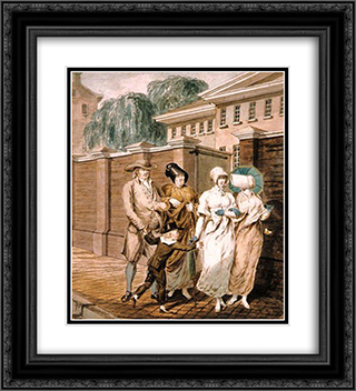 Sunday Morning in front of the Arch Street Meeting House in Philadelphia 20x22 Black or Gold Ornate Framed and Double Matted Art Print by John Lewis Krimmel