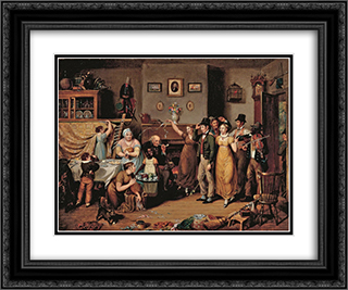 The Quilting Frolic 24x20 Black or Gold Ornate Framed and Double Matted Art Print by John Lewis Krimmel