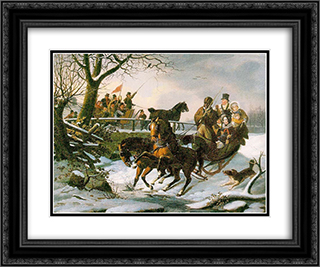 The Sleighing Frolic 24x20 Black or Gold Ornate Framed and Double Matted Art Print by John Lewis Krimmel