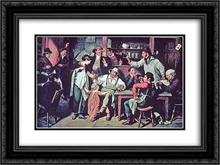 The Village Tavern 24x18 Black or Gold Ornate Framed and Double Matted Art Print by John Lewis Krimmel