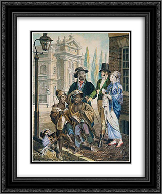 Wordly Folk Questioning Chimney Sweeps and Their Master Before Christ Church in Philadelphia 20x24 Black or Gold Ornate Framed and Double Matted Art Print by John Lewis Krimmel