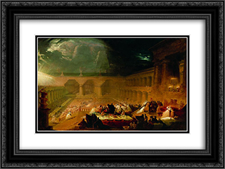 Belshazzar's Feast 24x18 Black or Gold Ornate Framed and Double Matted Art Print by John Martin
