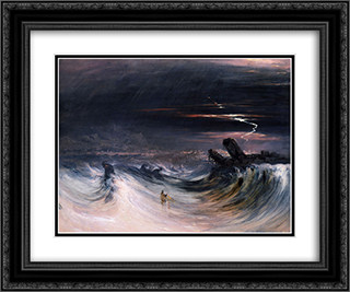 Destruction of Tyre 24x20 Black or Gold Ornate Framed and Double Matted Art Print by John Martin