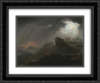Joshua Commanding the Sun to Stand Still 24x20 Black or Gold Ornate Framed and Double Matted Art Print by John Martin