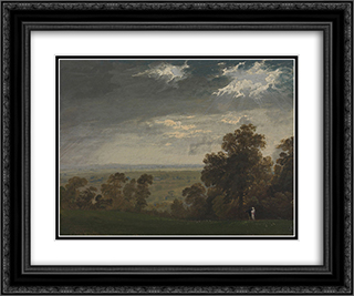 Landscape, Possibly the Isle of Wight or Richmond Hill 24x20 Black or Gold Ornate Framed and Double Matted Art Print by John Martin
