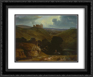 Landscape with a Castle 24x20 Black or Gold Ornate Framed and Double Matted Art Print by John Martin
