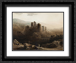 Moonlight - Chepstow Castle 24x20 Black or Gold Ornate Framed and Double Matted Art Print by John Martin