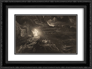 Moses Breaketh the Tables 24x18 Black or Gold Ornate Framed and Double Matted Art Print by John Martin