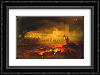 Pandemonium 24x18 Black or Gold Ornate Framed and Double Matted Art Print by John Martin