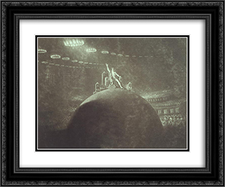 Satan Presiding at the Infernal Council 24x20 Black or Gold Ornate Framed and Double Matted Art Print by John Martin