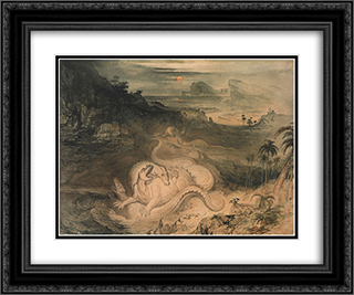 The Country of the Iguanodon 24x20 Black or Gold Ornate Framed and Double Matted Art Print by John Martin