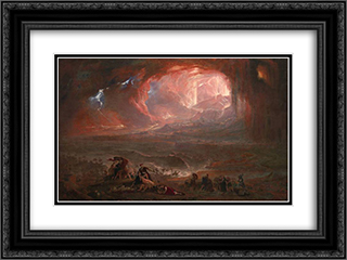 The Destruction of Pompei and Herculaneum 24x18 Black or Gold Ornate Framed and Double Matted Art Print by John Martin