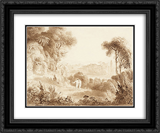 The Garden of Eden 24x20 Black or Gold Ornate Framed and Double Matted Art Print by John Martin