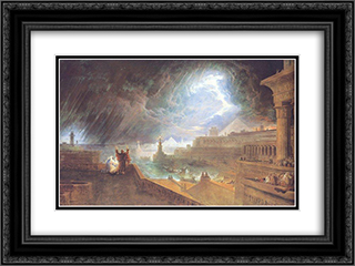 The Seventh Plague 24x18 Black or Gold Ornate Framed and Double Matted Art Print by John Martin