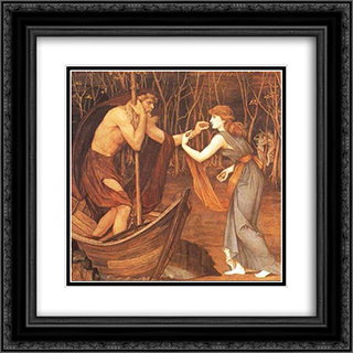 Charon and Psyche 20x20 Black or Gold Ornate Framed and Double Matted Art Print by John Roddam Spencer Stanhope