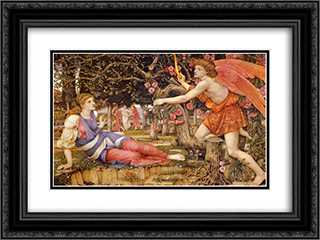 Love and the Maiden 24x18 Black or Gold Ornate Framed and Double Matted Art Print by John Roddam Spencer Stanhope