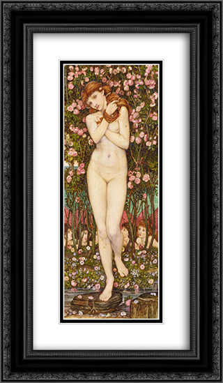 Nymph 14x24 Black or Gold Ornate Framed and Double Matted Art Print by John Roddam Spencer Stanhope