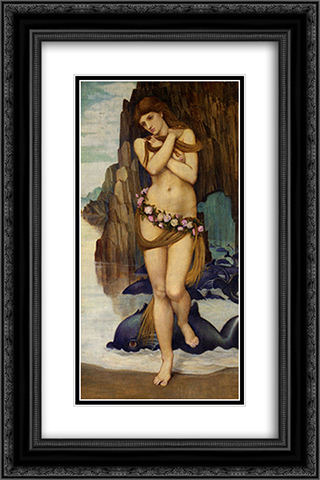 Venus Rising From The Sea 16x24 Black or Gold Ornate Framed and Double Matted Art Print by John Roddam Spencer Stanhope