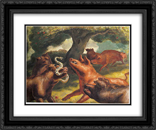 Hogs Killing a Snake 24x20 Black or Gold Ornate Framed and Double Matted Art Print by John Steuart Curry