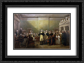 General George Washington Resigning his Commission 24x18 Black or Gold Ornate Framed and Double Matted Art Print by John Trumbull