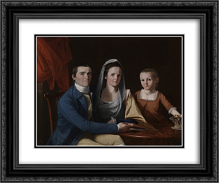 Jonathan Trumbull Jr with Mrs Trumbull and Faith Trumbull 24x20 Black or Gold Ornate Framed and Double Matted Art Print by John Trumbull