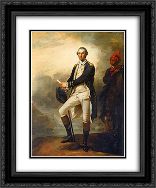 Portrait of George Washington and William 'Billy' Lee 20x24 Black or Gold Ornate Framed and Double Matted Art Print by John Trumbull