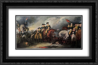 The Surrender of the Hessian troops at the Battle of Trenton 24x16 Black or Gold Ornate Framed and Double Matted Art Print by John Trumbull