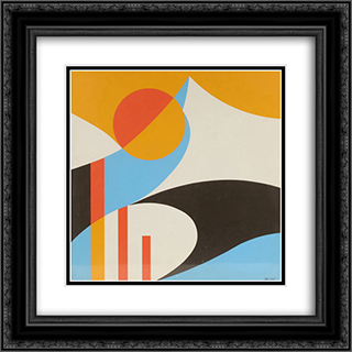 Abstract Design 20x20 Black or Gold Ornate Framed and Double Matted Art Print by John Vassos